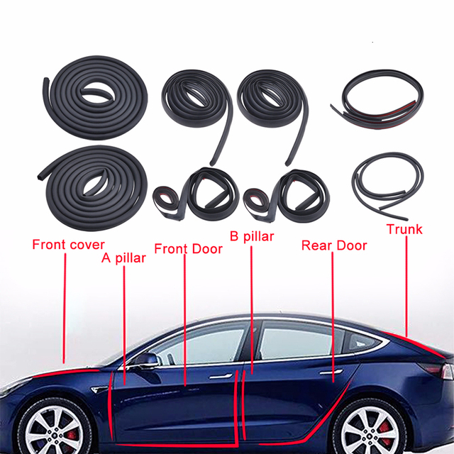 10Pcs Car Door Seal Strip Kit Soundproof Noise Insulation Weather Strip Sealing For Tesla Model 3 Exterior Accessories 1