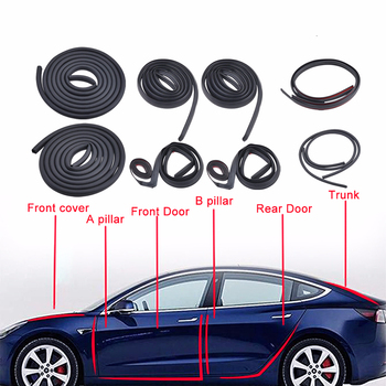 10Pcs Car Door Seal Strip Kit Soundproof Noise Insulation Weather Strip Sealing For Tesla Model 3 Exterior Accessories