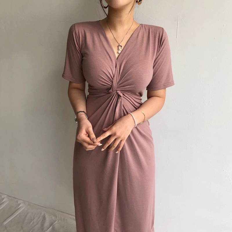 Long Summer <font><b>Dress</b></font> for <font><b>Women</b></font> Short Sleeve V-neck Cross High Waist <font><b>Sexy</b></font> Ladies Office <font><b>Bodycon</b></font> <font><b>Dresses</b></font> Elegant Womans <font><b>Dresses</b></font> image
