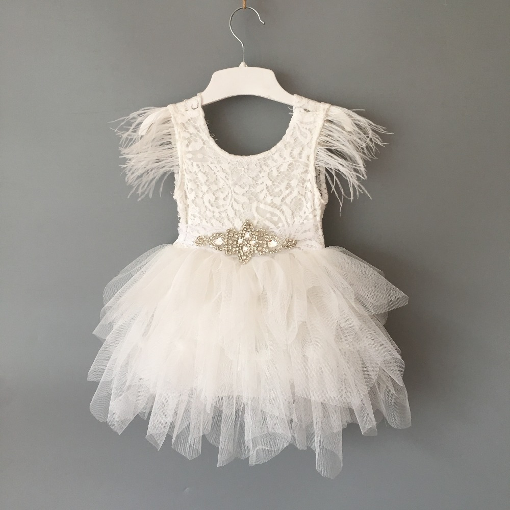 Princess baby feather dress 1st birthday party toddler girls lace flying sleeve summer dress kids tutu clothing with sashes 1