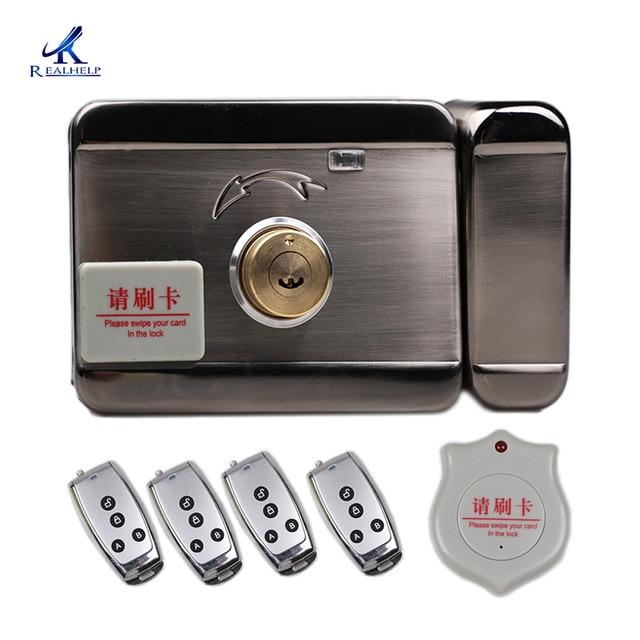 DC12V lock Automatic Swipe Card Lock System 125KHZ RFID Smart Lock Keycard Entry Systems 1000Users Keyless Lock Factory