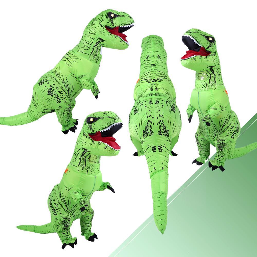 Inflatable Costume Green  Dinosaur Costumes T REX Blow Up Fancy Dress Mascot Cosplay Costume For Men Women Kids Dino Cartoon