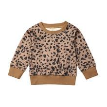 Повседневный пуловер с леопардовым принтом для новорожденных и маленьких девочек; свитер; топы; блузка; зимняя теплая одежда; Милая одежда с длинными рукавами