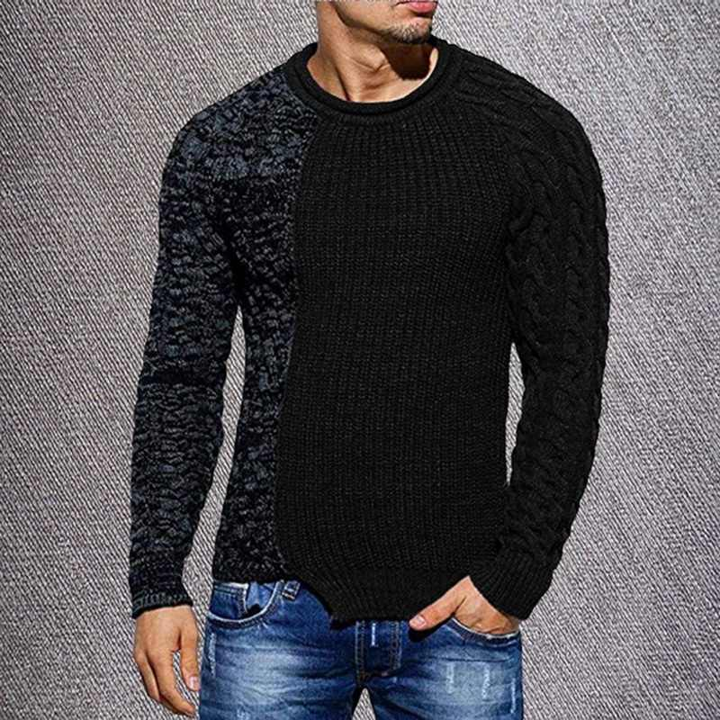 2020 Pria Fashion Warna Solid Musim Gugur Merajut O-Leher Lengan Panjang Disambung Sweater Kasual Slim Fit Pullover Tops
