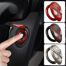 Marve Car Interior Modification Spiderman Start Button Protection Cover Engine Ignition Device Stickers Car Accessories