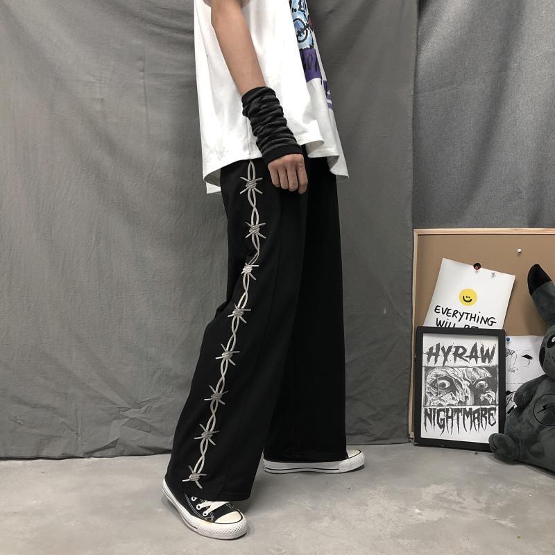 Harajuku Retro Women Pants Thorns Printed Elastic Waist Loose Wide Leg Pants Summer Streetwear Grunge Dark Casual Pants Unisex