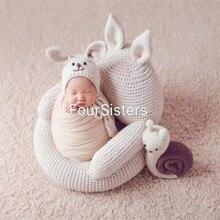 Fotografie Детские принадлежности мальчик Студия фото стул мягкое вязание кролик сиденье новорожденный фотосессия позирует диван Bebe фото кровать