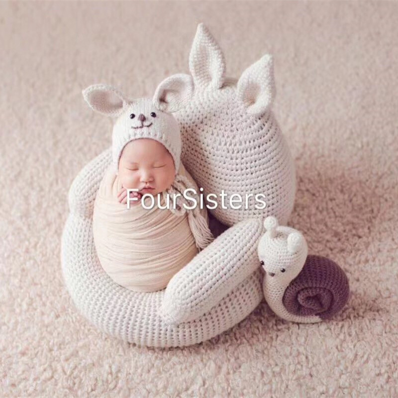 Fotografie Baby Props Boy Studio Photo Chair Soft Knitting Rabbit Seat Newborn Photo Shoot Posing Sofa Bebe Photographie Bed