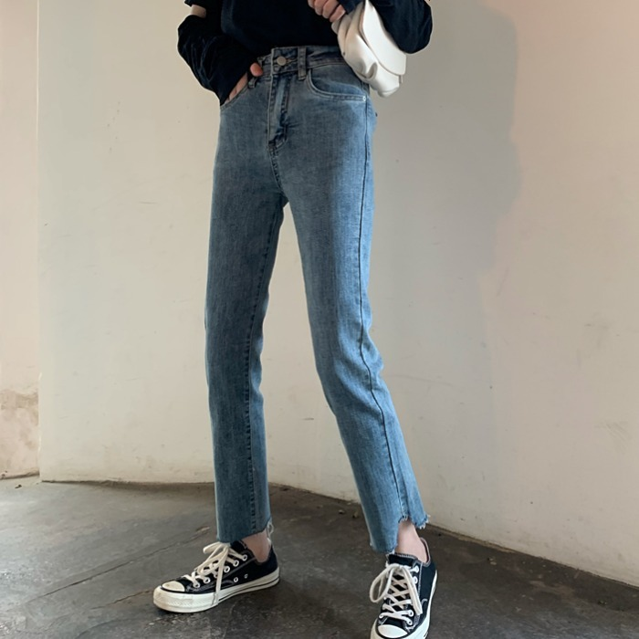Autumn 2019 New Korean Retro Washed High Waist Jeans For Women's All-around Slim Ripping Design Straight Pants
