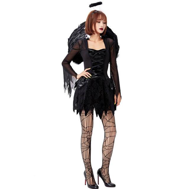 Women's Black Angel Dress Costume Set