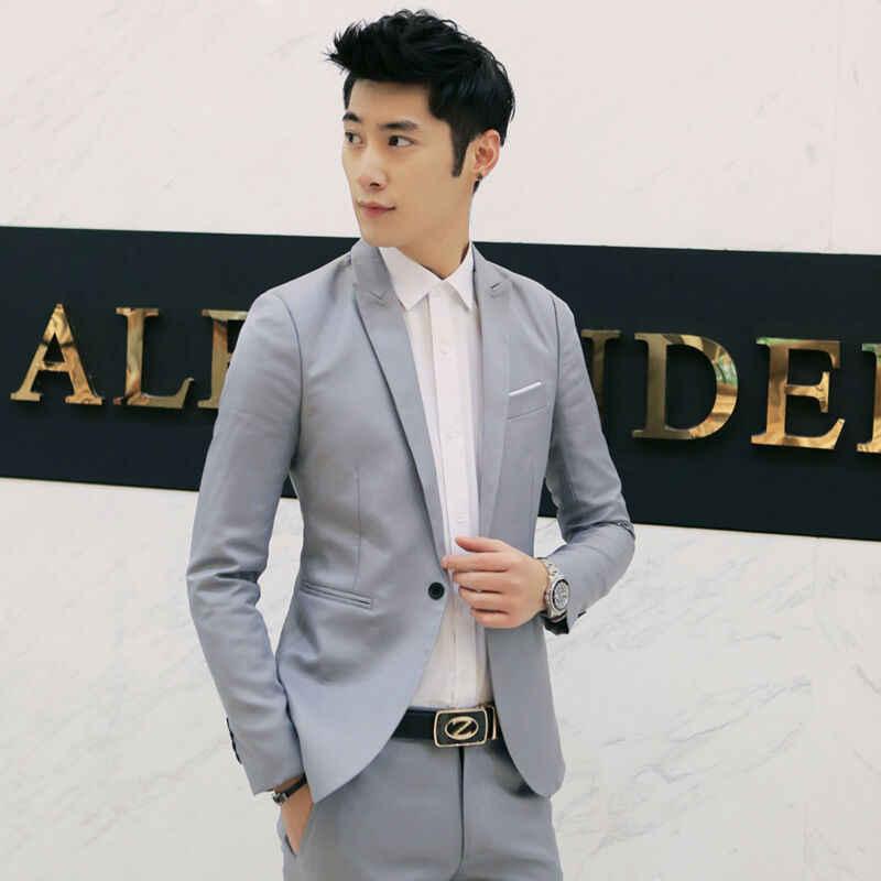 Novo masculino casual magro ajuste um botão terno blazer casaco de negócios com bolso