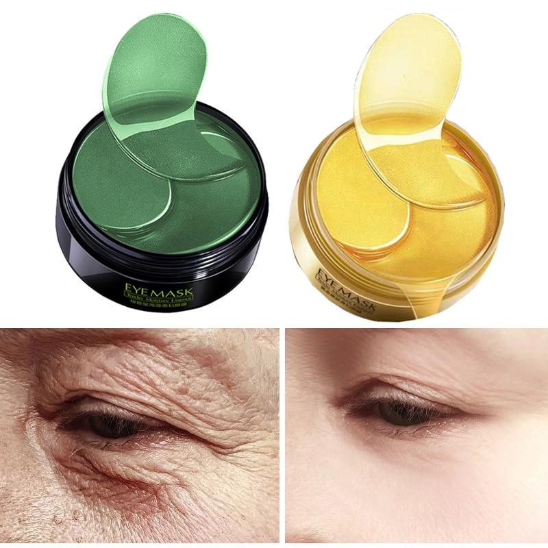 60PCS Hydrogel Eye Patches Anti Aging Collagen Eyes Mask Gold Green Ageless Korean Gel Patch Anti Wrinkles Dark Circles Bags M