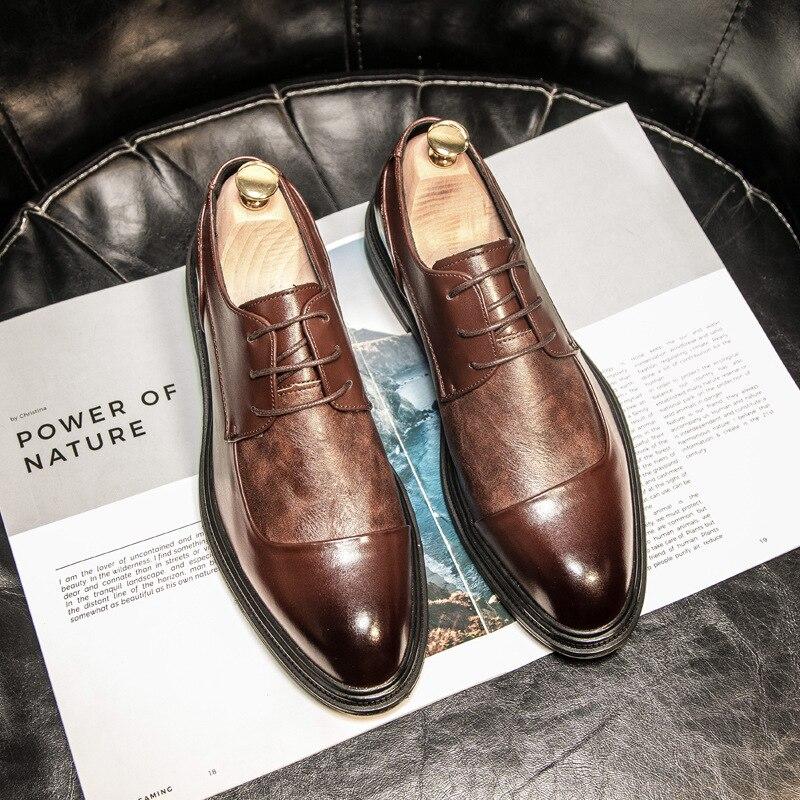 New Men's Shoes Business Dress Shoes Men's Korean Trend Casual Shoes Men's Pointed British Leather Shoes Men