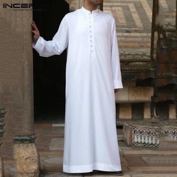 Albornoz musulmán de manga larga para hombre túnica transpirable de Color sólido...