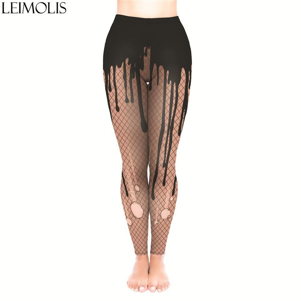 LEIMOLIS 3D Print Sexy Chocolate Fitness Push Up Workout Leggings Women Plus Size High Waist Punk Rock Leggins
