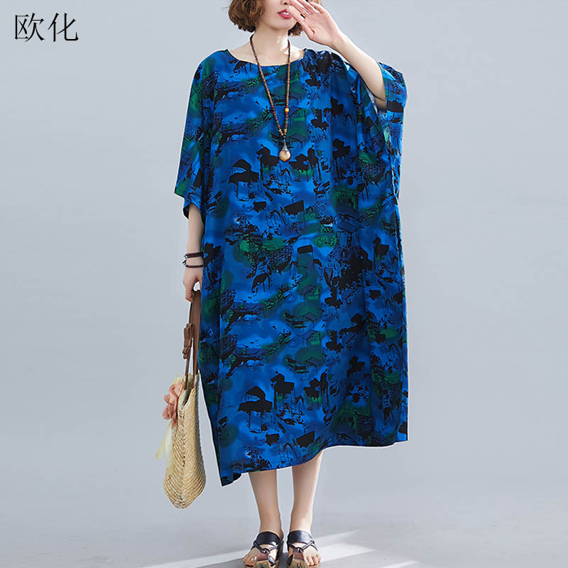 Oversize Vintage Print Linen Dress Women Plus Size Batwing Sleeve Cotton Maxi Dress Robe Femme Summer Boho Dress Sundress 2020