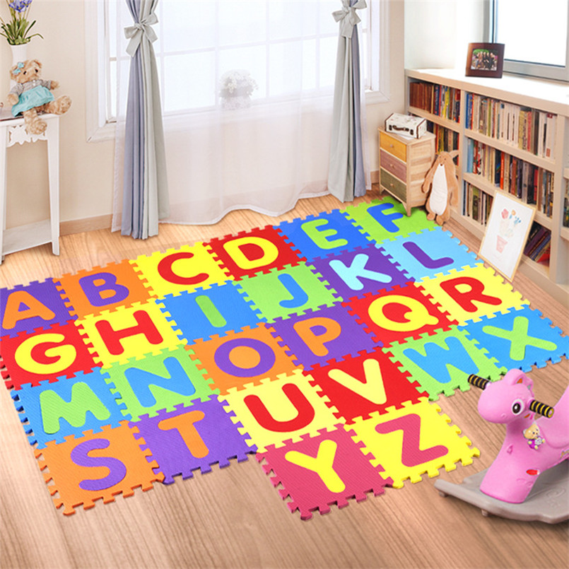 26Pcs/set 30*30cm Cartoon English Alphabet Pattern Baby Crawling Mat Puzzle Toys For Kid EVA Foam Yoga Letter Mats Learning Toy