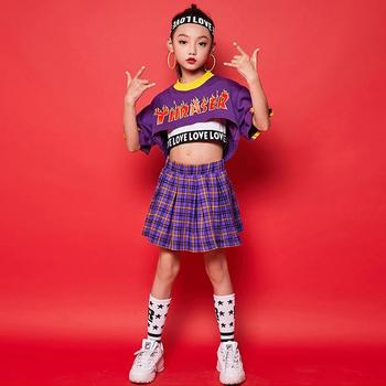 Children Dance Clothing 3PCS Sets Short Sleeve Letter Print Crop Tops+Vests+Plaid Skirts Stage Performance Girls Outfits 4-15T