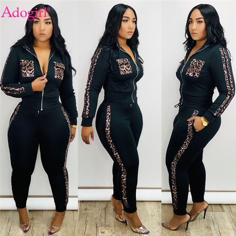 Adogirl Leopard Print Patchwork Women Tracksuit Zipper Long Sleeve Short Jacket Top Pencil Pants Fashion Casual Two Piece Set