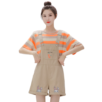 Summer Sweet Girls Shorts Women Loose Denim Overalls Mori Embroidery Bunny Kawaii Casual Rompers Soft Cute Jeans Clothing Pink