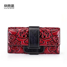 New women genuine leather bag designer brands fashion woven pattern women embossing Embossed buckle long wallets clutch bags