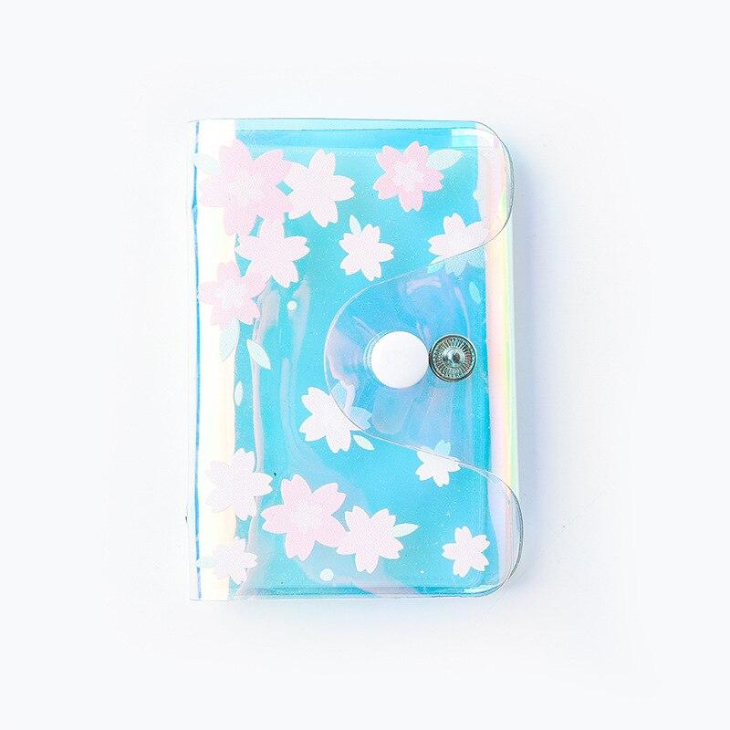 Kawaii Cherry Blossom Laser Card Holder 20 Bits Credit Cards Case Organizer Portable ID Card Wallet School Office Supplies