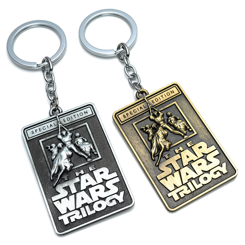 Movie Star Wars key chains holder Trek Cartoon Vengeance Silver Bronze Warships Model Metal KeyRing Keychain child's gift image