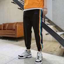 купить New Style Men's Hip Hop Long Patchwork Pants Joggers Side Elastic Waist Striped Sweat Pants Trousers дешево