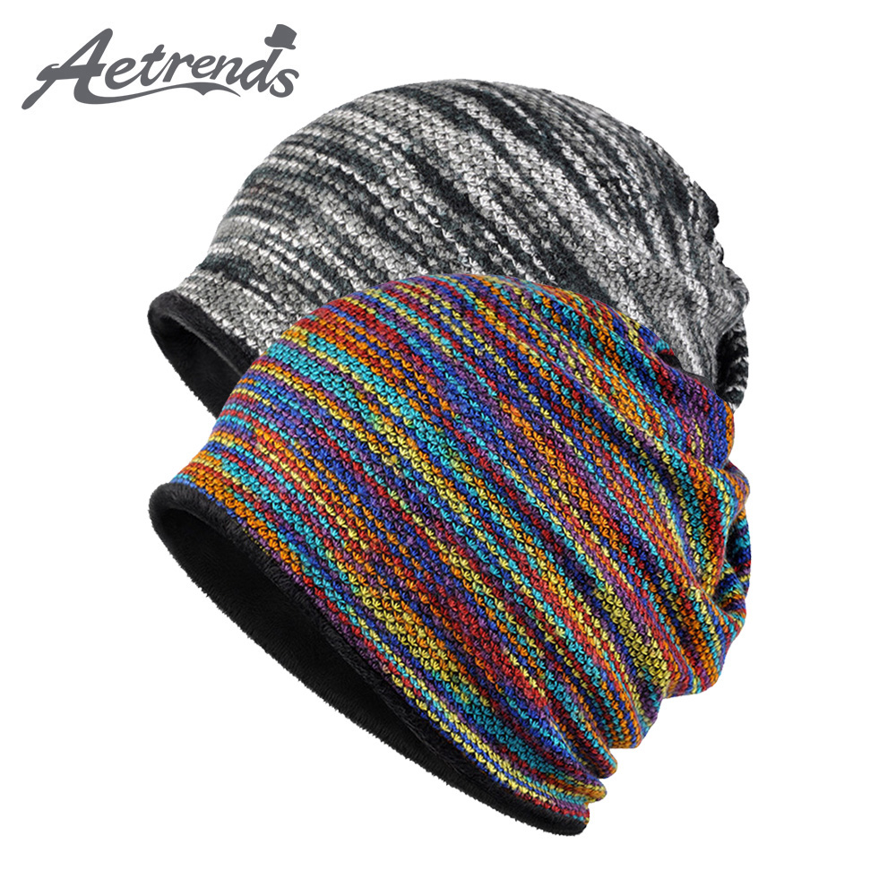 [AETRENDS] Winter   Beanies   Collar Scarf Women or Men's Hip Hop Hats Warm with Velvet Inside Z-5008