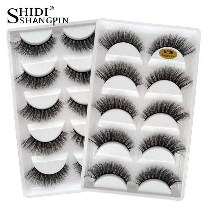 SHIDISHANGPIN 5 Pairs False Eyelashes Natural Mink Eyelashes Make Up 3d Mink Lashes Thick Fake Eyelashes Maquiagem Faux Cils