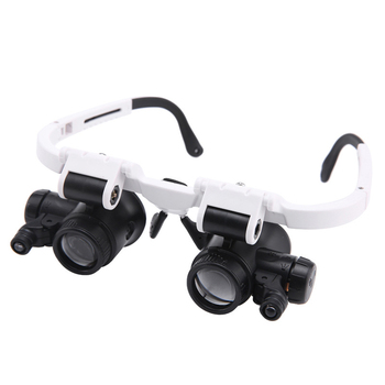 9892H-1 Head Mounted LED Lamp Acrylic Lenses Double Eye Glasses Magnifier Loupe Convex Lens For LED Spotlights, Car Lights, Flas image