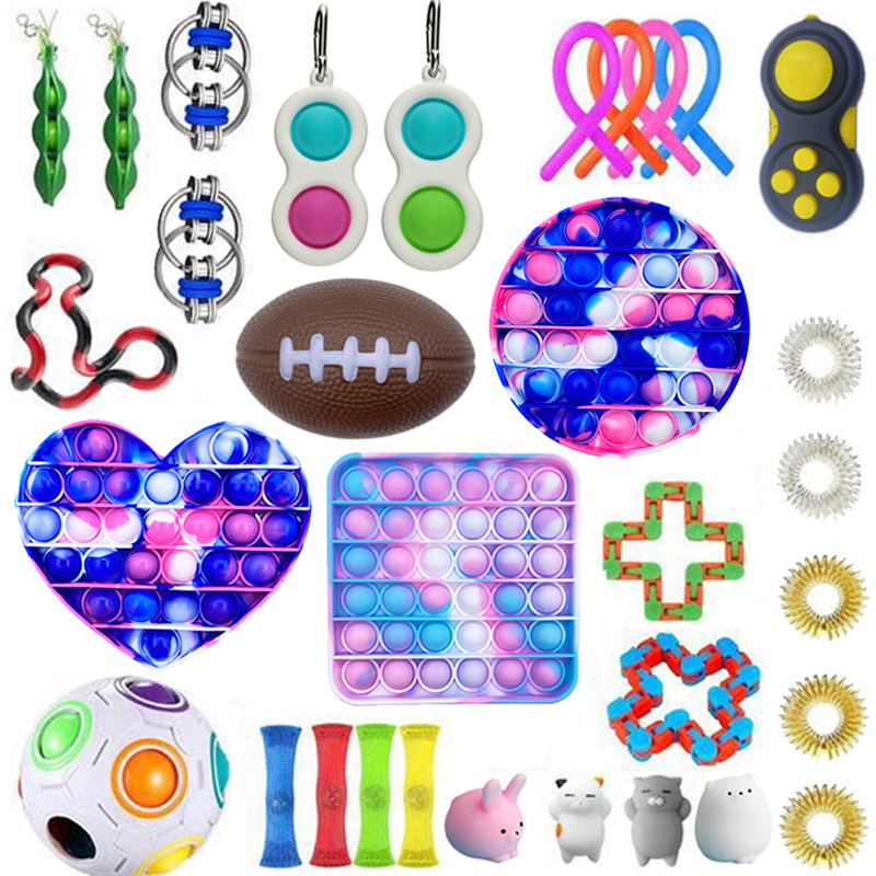 Toy-Pack Fidget-Toys-Set Relief-Figet Antistress Poppit Pop-It-Box-Strings Marble img2