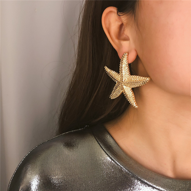 New Elegant Gold Color Starfish Earrings Statement Alloy Ocean Sea Star Earrings For Women Jewelry Gifts