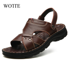 WOTTE Summer Men Sandals Men Casual Shoes Comfortable Driving Leather Man Shoes Men Beach sandalen s