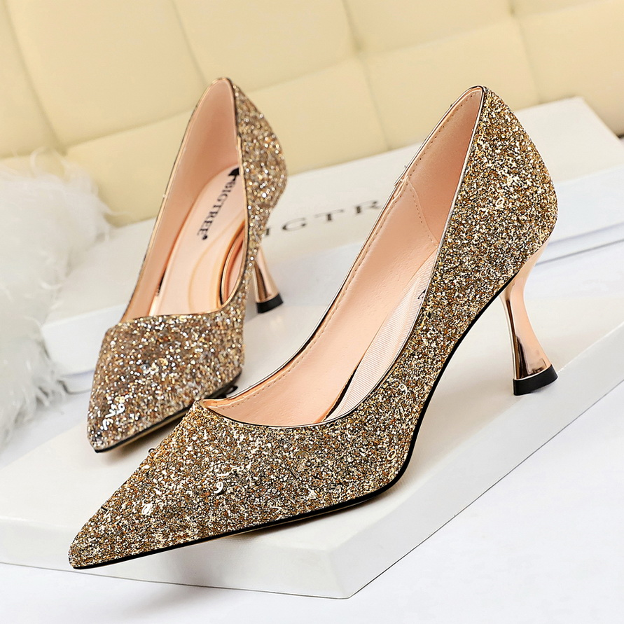 Bigtree Luxury brand ladies shallow shoes pointed red gold silver high heels wedding elegant design