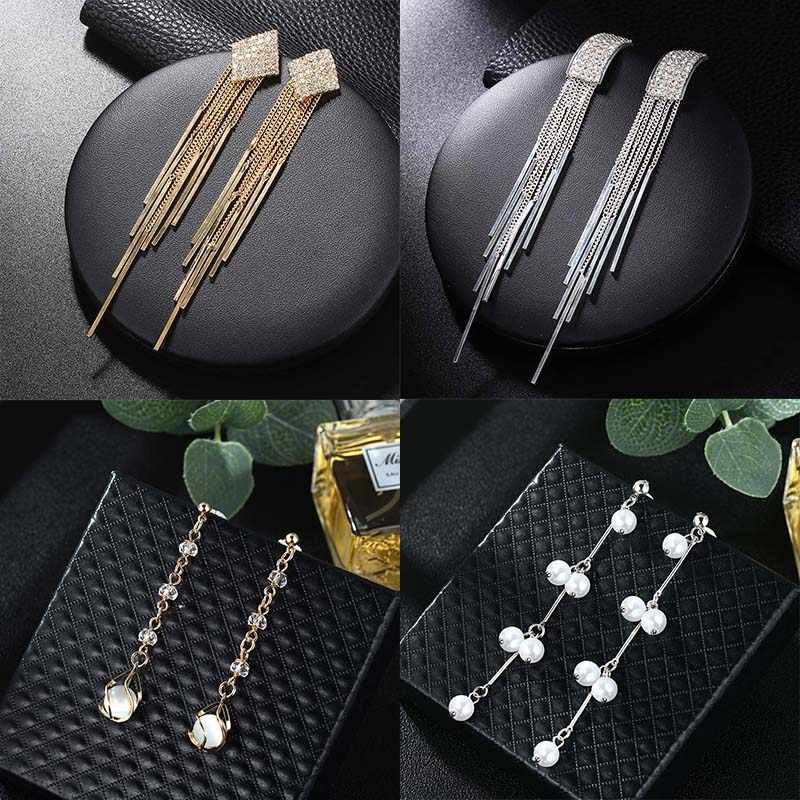 Korean Elegant Long Earrings Tassel Chain Earrings Rhinestone Earrings Vintage Jewelry Women Accessories Personality