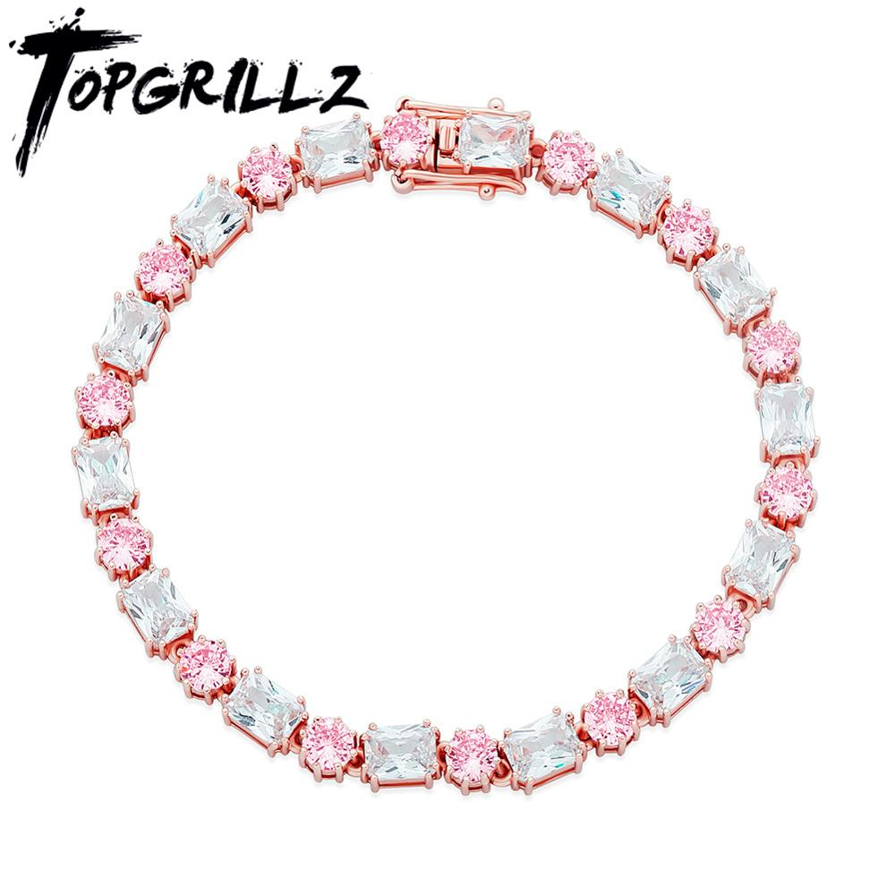 TOPGRILLZ 6mm Bracelet High Quality Round and Square Iced Out Cubic Zirconia Women's Bracelet Hip Hop Fashion Jewelry For Gift|Chain & Link Bracelets| - AliExpress