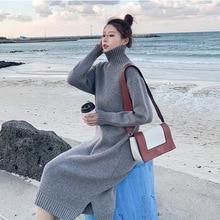 Diwish Woolen Skirt Women Pullovers Knit Sweaters Korean Turtlenec Winter Clothes Long Sweater Dress Office Lady New 2019