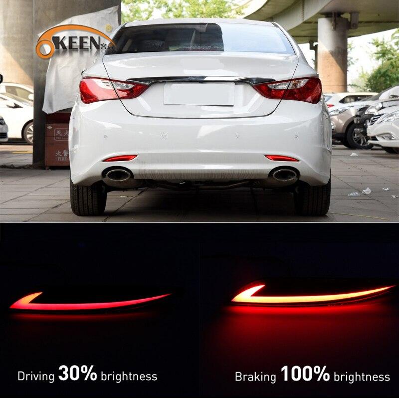 2Pcs For Hyundai Sonata 2011 2012 2013 2014 Led Rear Bumper Reflector Light Taillight Fog Lamp Braking Running Warning Lamp
