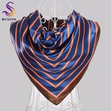 [BYSIFA] Ladies Black Silk Scarf Shawl Fashion New Brand Chain Square S