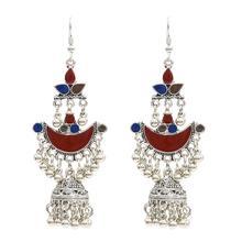 Vintage Ethnic Womens Silver Indian Jewelry Gypsy Boho Tribe Bell Tassel Drop Earrings Jhumka Pendientes Largos