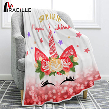 Miracille Colorful Unicorn Flannel Cute Smiley Cat Air Conditioning Blanket Girl Like Gift Bedspread Bedroom Bedding
