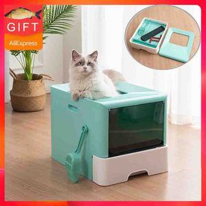 2020New Pet Fold Cat Tray kuweta zamknięta toaleta dla kotów zestaw treningowy łopata do piachu kotek pies do przyzwyczajenia kotów do toalety