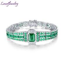 LOVERJEWELRY, унисекс браслет, твердый, 18 К, белое золото, изумруд, драгоценный камень, для женщин и мужчин, браслет, настоящий бриллиант, классический браслет, ювелирное изделие