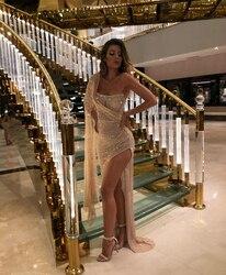 Коктейльные платья цвета шампанского с блестками на Среднем Востоке 2020, вечерние платья на одно плечо для выпускного вечера, Женские коктей...