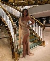 Middle East Champagne Glitter Cocktail Dresses 2020 One Shoulder Prom Party Dresses Women Robes De Cocktail Side Split Gowns