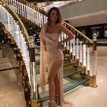 Middle East Champagne Glitter Cocktail Dresses 2020 One Shou