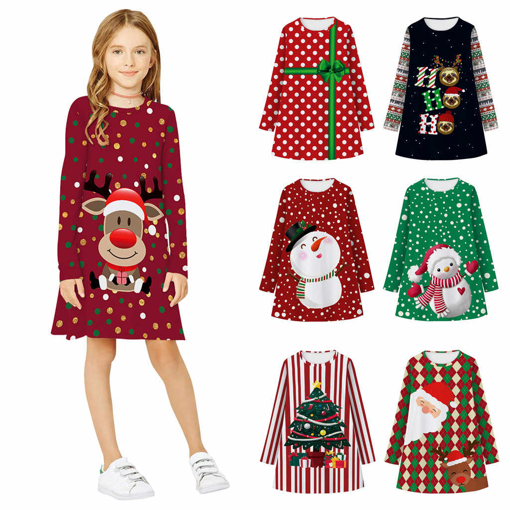 Baby Girl Dress Christmas Dress Teen Kids Girl Long Sleeve 3D Print Cartoon Christmas Xmas Dress Clothes vestido bebe فساتين اطف