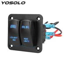 YOSOLO 2 Gang Rocker anahtarı paneli/kapalı geçiş araba ATV UTV LED ışık kablo demeti anahtarı kontrol panel
