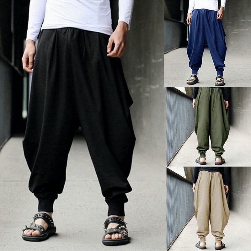 Trousers Harem-Pants Men's Joggers Hip-Hop Dance Loose Wide-Leg Fashion New Solid Casual